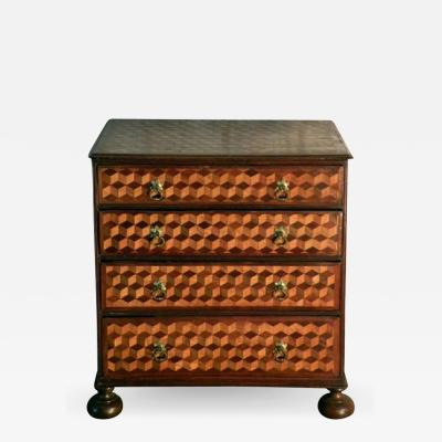 Rare Late 18th Century Small Dutch Parquetry Commode