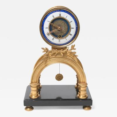 Rare Louis XVI Period Enamel and Gilt Bronze Clock