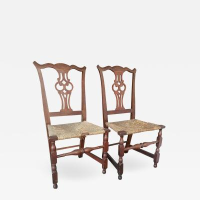 Rare Matched Pair of Transitional Chippendale Chairs Salem Mass circa 1750