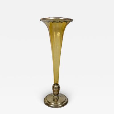 Rare Mid Century Murano Amber Floor Vase