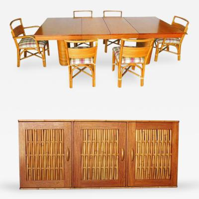 Rare Mid Century Rattan and Mahogany Dining Set with Sideboard