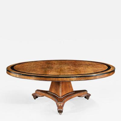 Rare Monumental English Oak and Ebony Center Table of the Georgian Period