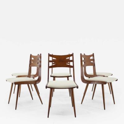 Rare Oak Dining Chairs Set of Six Czechoslovakia 1960s