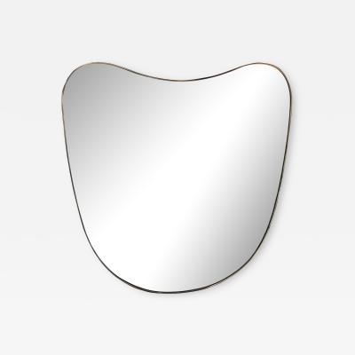 Rare Oversized Italian Minimal Curvilinear Brass Mirror 1950s