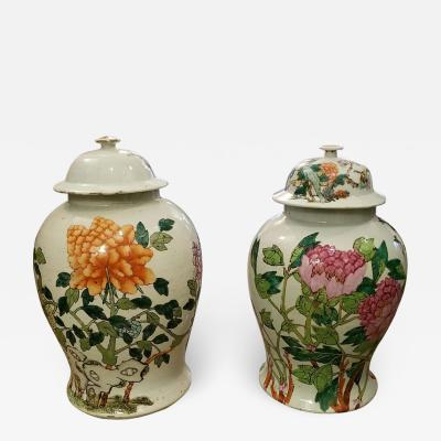 Rare Pair of Antique Chinese Lidded Ginger Jars