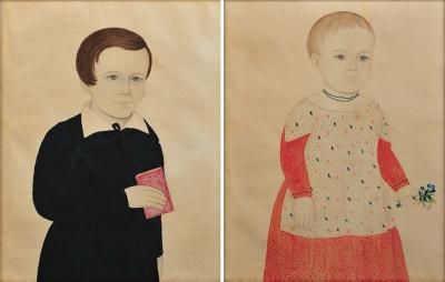 Rare Pair of Portraits of a Boy and Girl