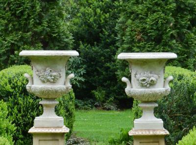 Rare Pair of Stoneware Urns