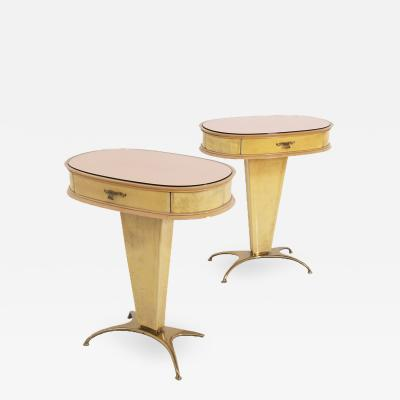 Rare Pair of Vintage Italian Nightstands in Parchment with a rose window