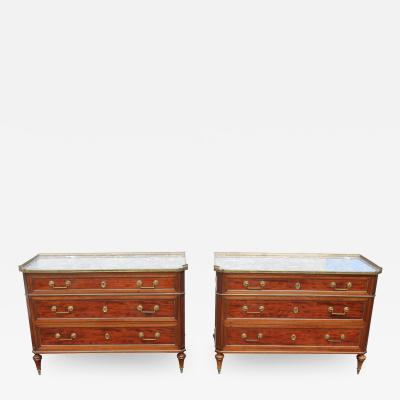Rare Pr of Early 20c Directoire Style French Chest of Drawers With Marble Tops