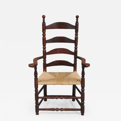 Rare Queen Anne Ladder Back Carved Knuckle Arm Chair