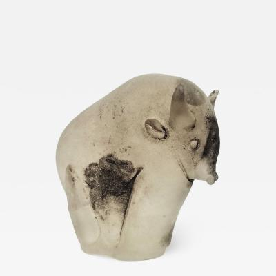 Rare Scavo Murano Glass Bull by Cenedese