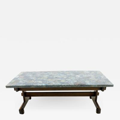 Rare Sergio Rodrigues Coffee Table with Apatit Stone Mosaic Top Brazil 1964