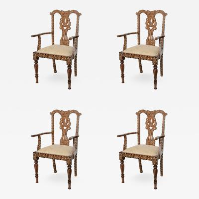 Rare Set of Four Anglo Indian Hardwood and Bone Inlaid Armchairs