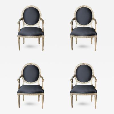 Rare Set of Four Italian Neoclassic Silver Gilt Armchairs