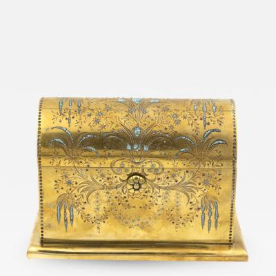 Rare Solid Brass Stationery Box Inlaid With Turquoise And Garnets