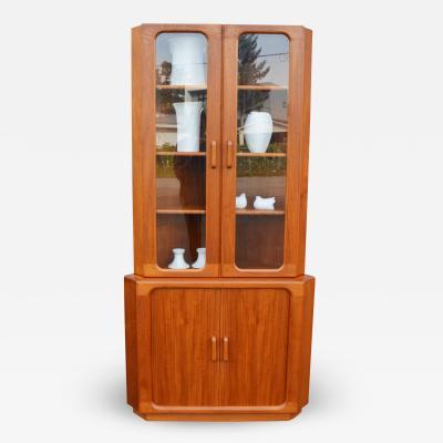 Rare Solid Teak Tambour Door Corner Cabinet w Glass Upper