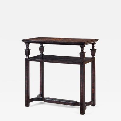 Rare Swedish Grace Period Two Tier Oak and Marbleized Linoleum Table Circa 1925