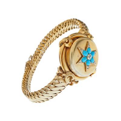 Rare Victorian Diamond Turquoise and Yellow Gold Locket Bracelet