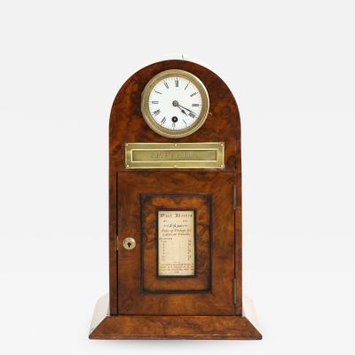 Rare Victorian walnut letter box with clock circa 1881