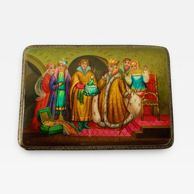 Rare Vintage Russian Hand Painted Lacquered Small Wooden Box Signed Fedoskino