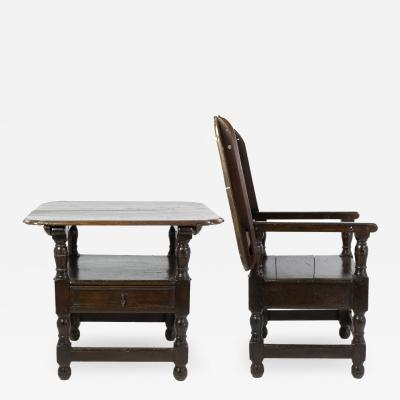 Rare Welsh 18th Century Joined Oak Monks Chair Table with A Single Drawer