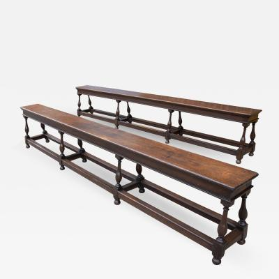 Rare and Documented Pair of Charles II Long Joined Oak Benches c 1674