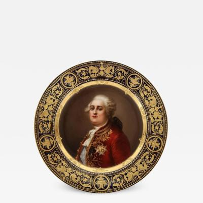 Rare and Exceptional Royal Vienna Porcelain Plate of King Louis XVI by Wagner