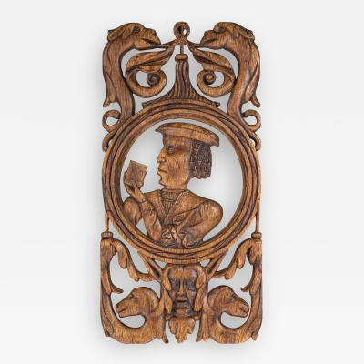 Rare and Interesting 16th Century Carved and Pierced Oak Portrait Panel