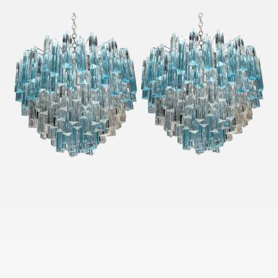 Rare and Spectacular Pair of Italian Aquamarine Triedri Chandeliers