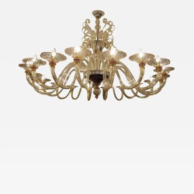 Rare large 1970 Murano blown glass chandelier