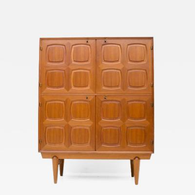 Rastad Relling Graphic Teak Highboard by Rastad Relling for Bahus Norway 1960s