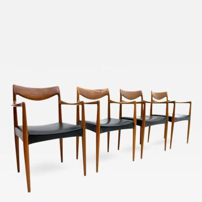 Rastad Relling Rare Set of Four Bambi Teak Armchairs by Rolf Rastad Adolf Relling 1950s