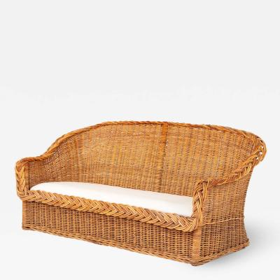 Rattan Bench Sofa with linen seat