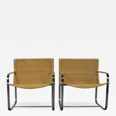 Rattan Chrome Lounge Chairs by Milo Baughman