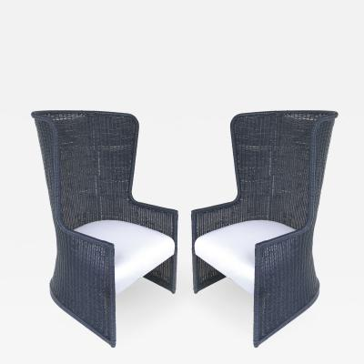 Rattan High Wingback Chairs with Newly Upholstered Seat Cushions Pillows