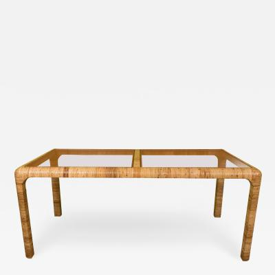 Rattan and Glass Dining or Console Table