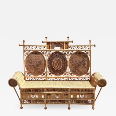 Rattan caned sofa with fine decor France or Asia circa 1930