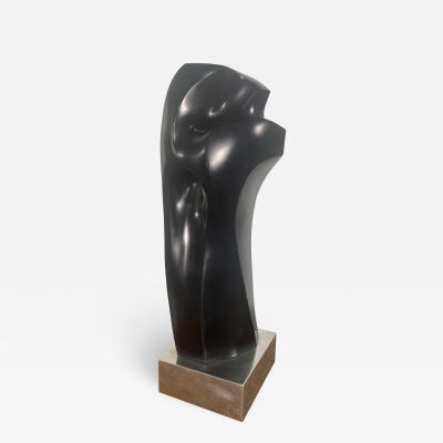 Raul Varnerin Modern Black Marble sculpture on steel base Raul Varnerin