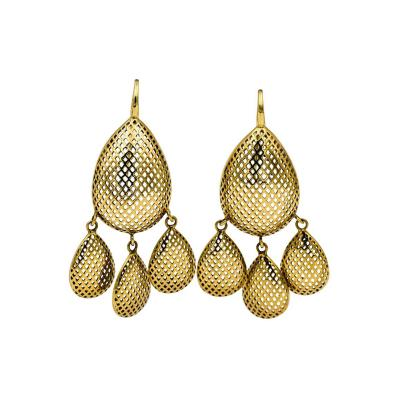 Ray Griffiths Fine Jewelry Ray Griffith 18 Karat Yellow Gold Open Crown Work Chandelier Earrings