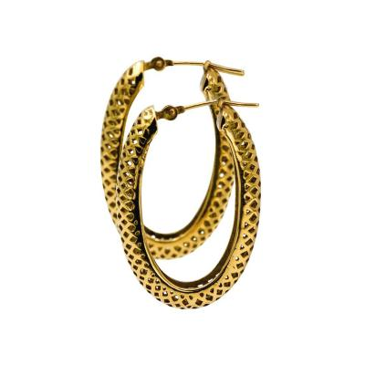 Ray Griffiths Fine Jewelry Ray Griffiths 18 Karat Yellow Gold Crown Work Hollow Oval Hoop Earrings