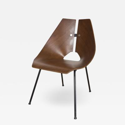 Ray Komai Molded Walnut Side Chair by Ray Komai for George Jensen
