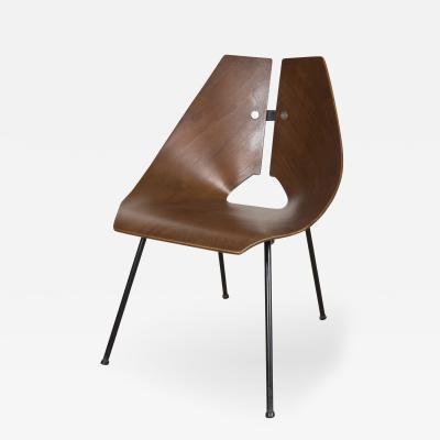 Ray Komai Ray Komai Molded Walnut Side Chair George Jensen Label