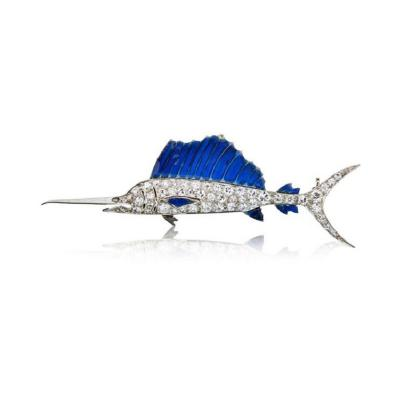 Raymond C Yard RAYMOND C YARD PLATINUM 18K WHITE GOLD SWORDFISH BLUE ENAMEL DIAMOND BROOCH