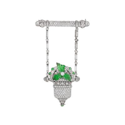Raymond C Yard Raymond Yard Art Deco Diamond Emerald and Platinum Watch Brooch
