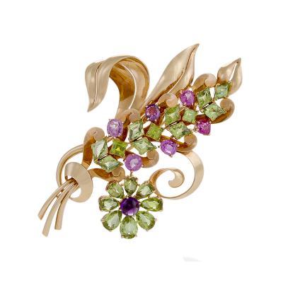 Raymond C Yard Raymond Yard Retro Peridot Pink Sapphire Amethyst and Gold Flower Brooch