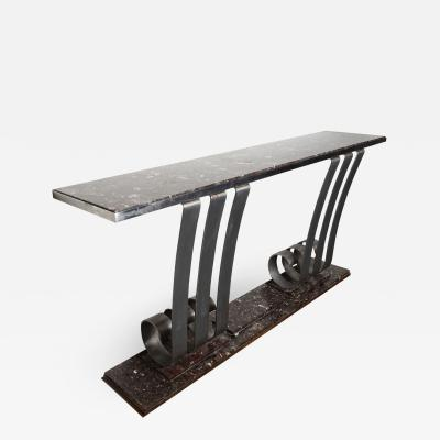 Raymond Subes 1930s Art Deco Style Marble Stainless Steel Console Designed by Raymond Subes