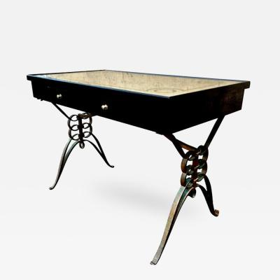 Raymond Subes 1940s Raymond Subes Awesome Quality Wrought Iron Base Desk with 2 Drawers