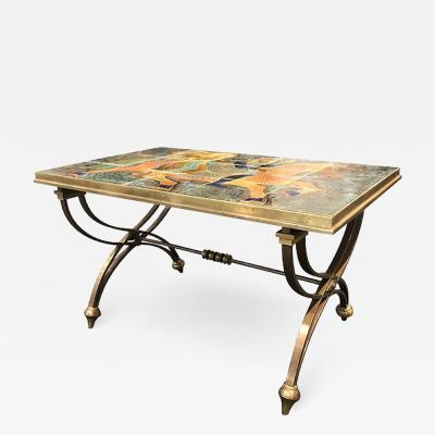 Raymond Subes BRONZE LOW TABLE IN THE MANNER OF RAYMOND SUBES DECORATED WITH A CERAMIC TOP