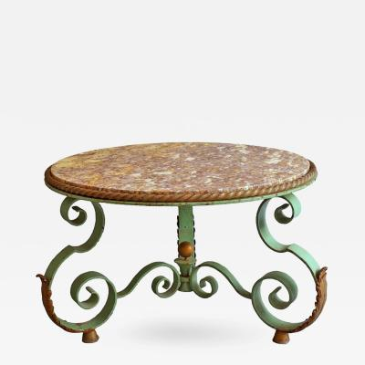 Raymond Subes Fine French Art Deco Wrought Iron and Marble Top Coffee Table by Raymond Subes