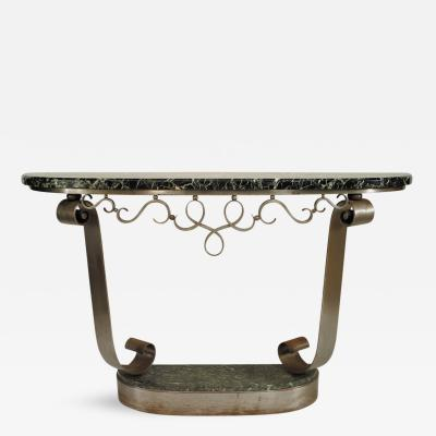 Raymond Subes French Art Deco Steel Console Table